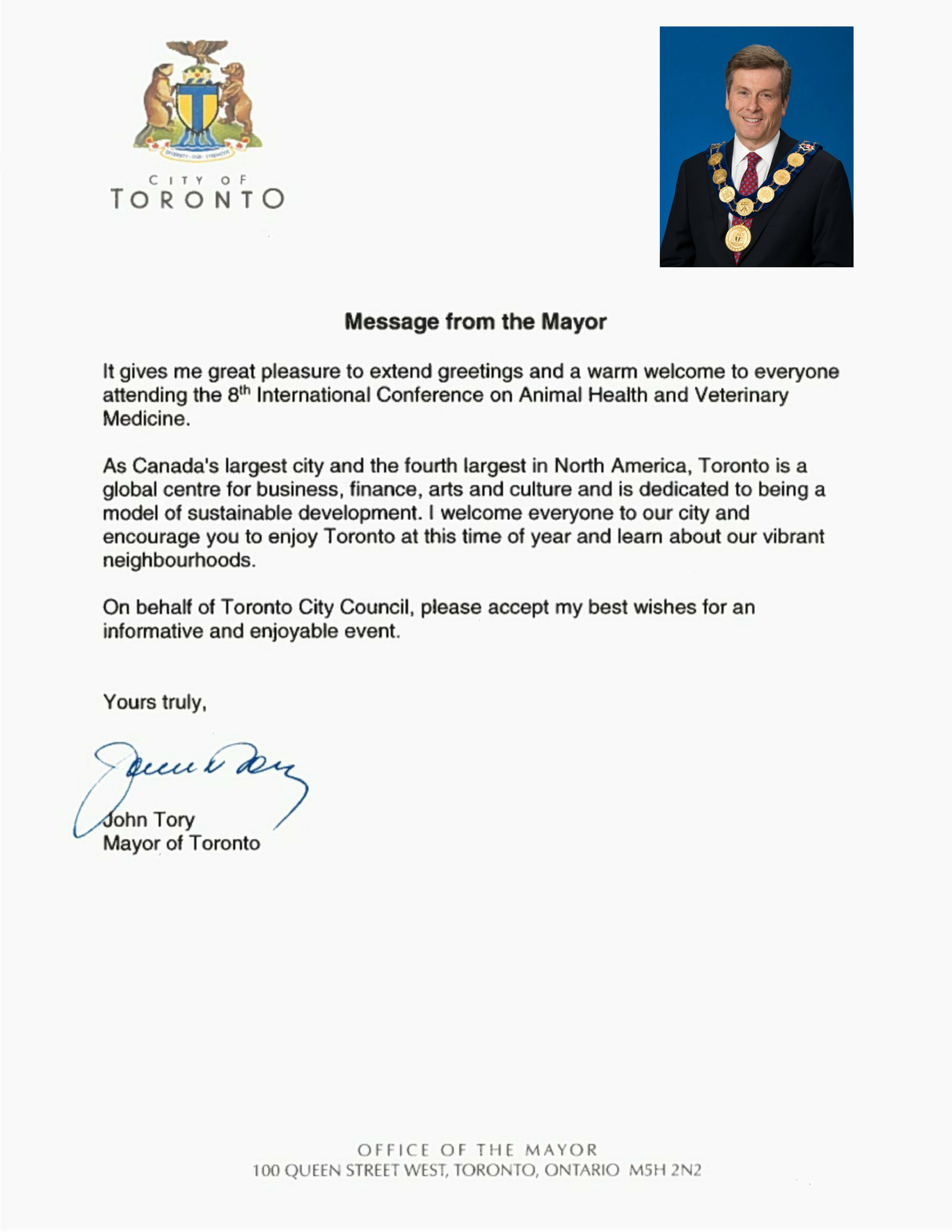 Toronto Mayor-John Tory's-Welcome Message-Veterinary-Conference-Animal Health 2017, Canada