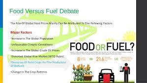 Food VS. Fuels debate