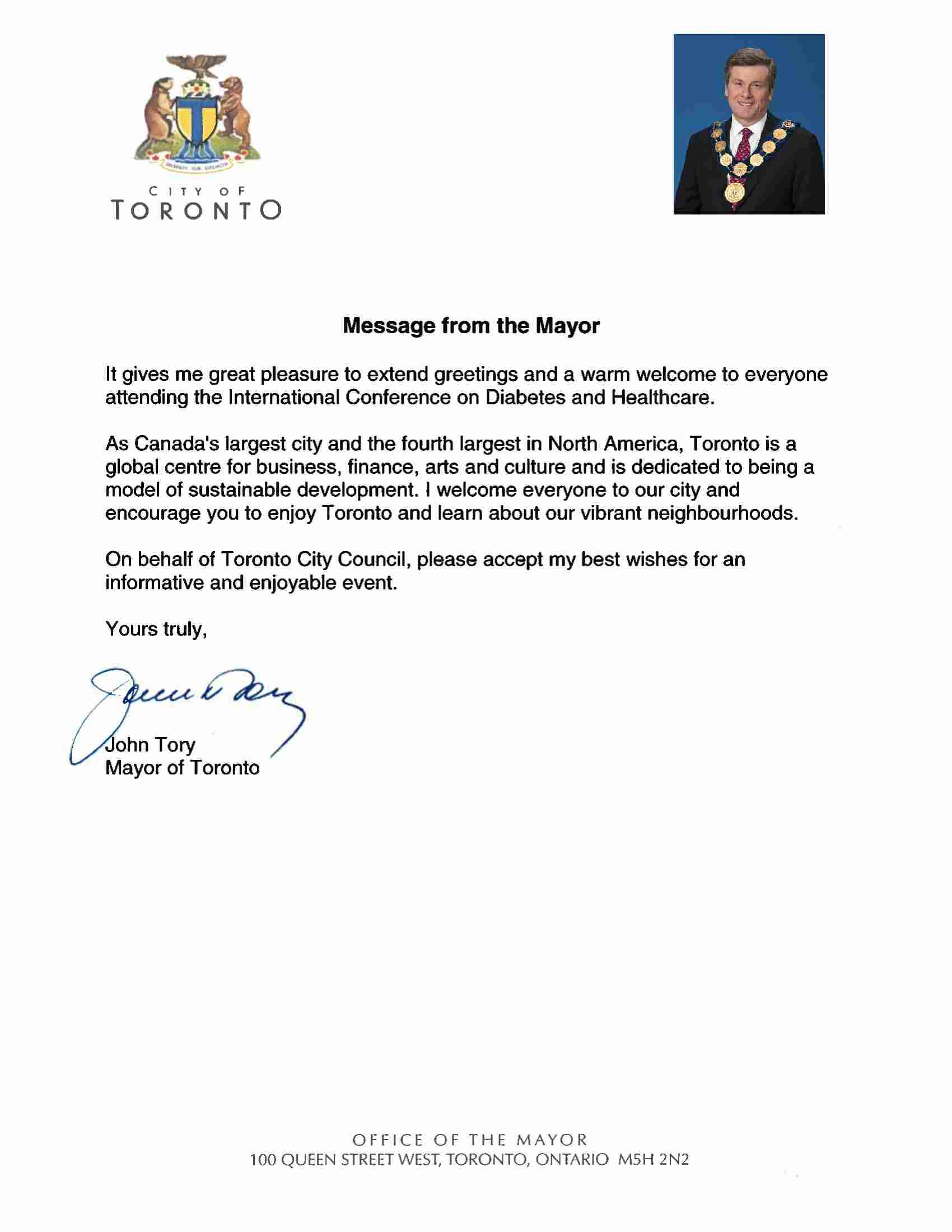 Toronto-Mayor Welcome Message-Diabetes conference 2018